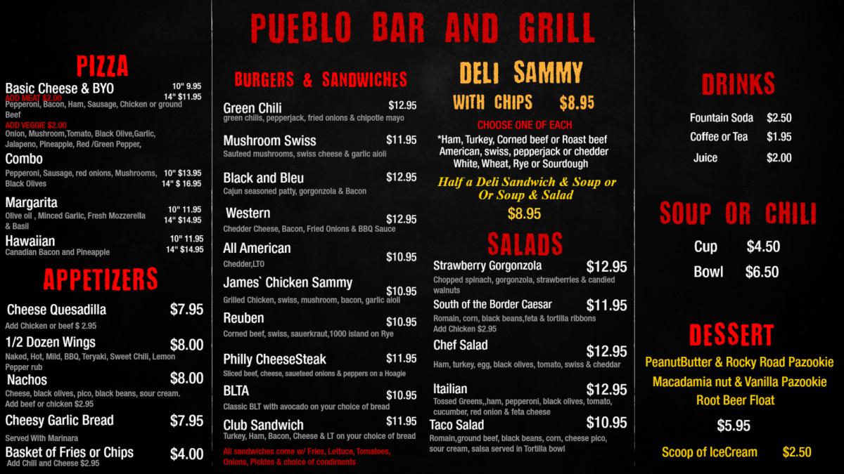 PEM Bar and Grill Menu 1